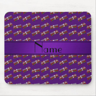 Personalized name purple firetrucks mouse pads