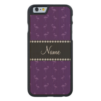 Personalized name purple flamingos carved® maple iPhone 6 case