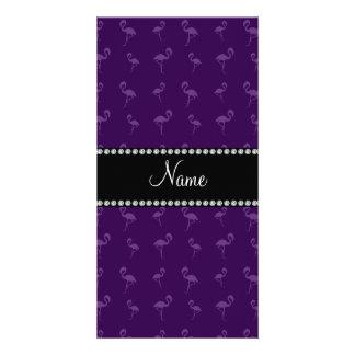 Personalized name purple flamingos custom photo card