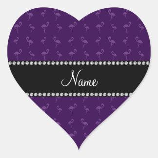 Personalized name purple flamingos heart sticker