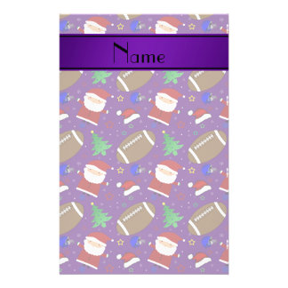 Personalized name purple football christmas stationery paper
