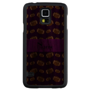 Personalized name purple footballs carved walnut galaxy s5 case