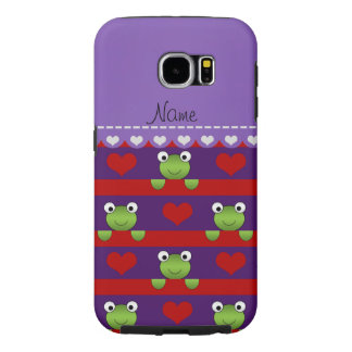 Personalized name purple frogs red hearts stripes samsung galaxy s6 cases