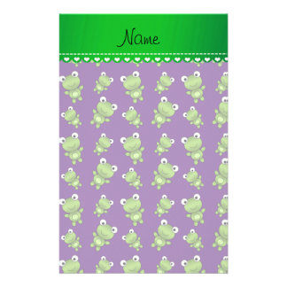 Personalized name purple frogs stationery