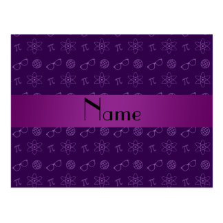 Personalized name purple geek pattern postcard