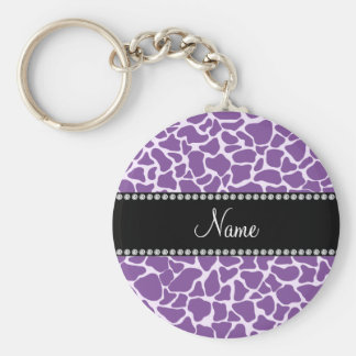 Personalized name purple giraffe pattern basic round button key ring