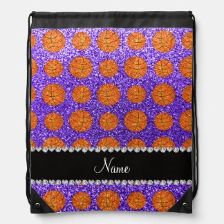 Personalized name purple glitter basketballs drawstring bag