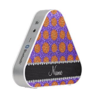 Personalized name purple glitter basketballs bluetooth speaker