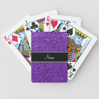 Personalized name purple glitter bicycle playing cards