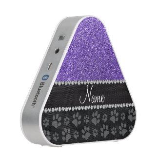 Personalized name purple glitter black paws