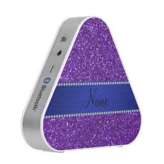 Personalized name purple glitter blue diamonds