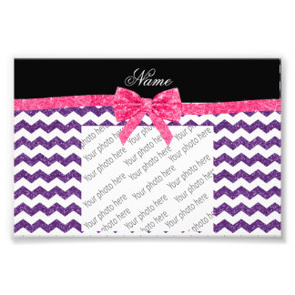 Personalized name purple glitter chevrons pink bow photographic print