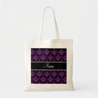 Personalized name purple glitter damask bags