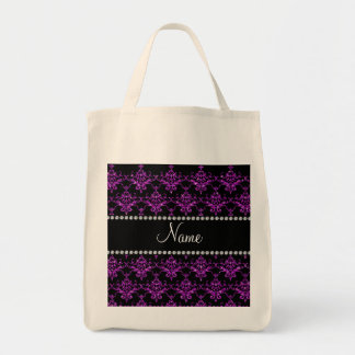 Personalized name purple glitter damask canvas bag