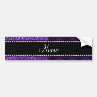 Personalized name purple glitter damask bumper stickers