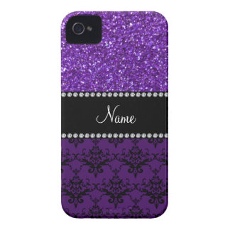 Personalized name purple glitter damask Case-Mate iPhone 4 cases