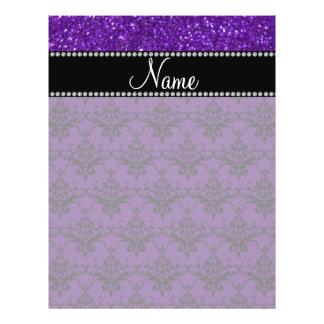 Personalized name purple glitter damask custom flyer