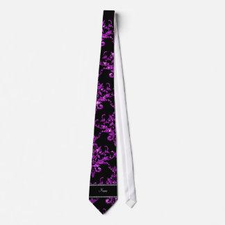Personalized name purple glitter damask neck tie