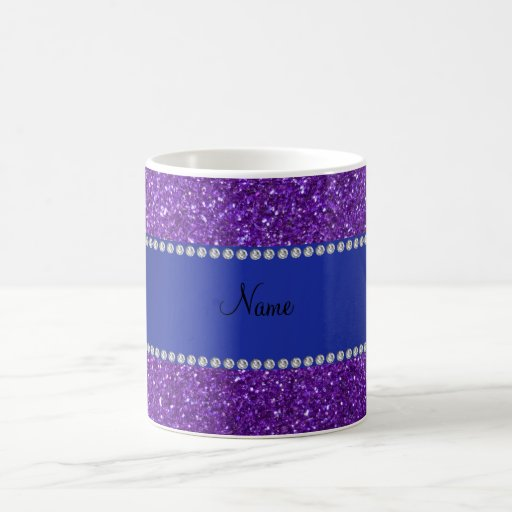 Personalized name purple glitter diamonds coffee mug
