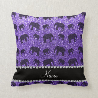 Personalized name purple glitter elephants cushion