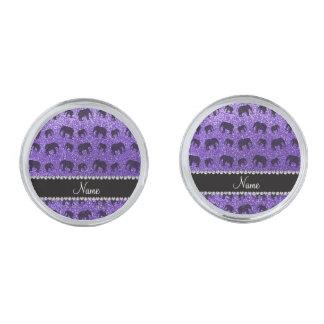 Personalized name purple glitter elephants silver finish cufflinks