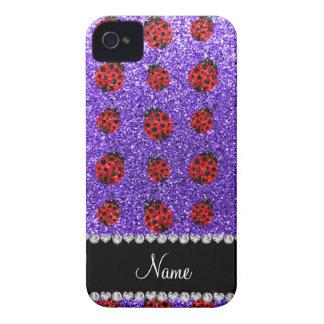 Personalized name purple glitter ladybug iPhone 4 cases