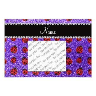 Personalized name purple glitter ladybug photograph