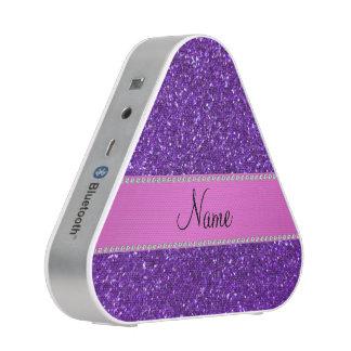 Personalized name purple glitter pink diamonds bluetooth speaker