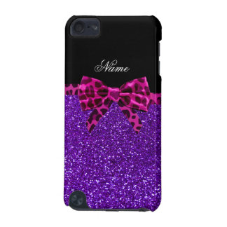 Personalized name purple glitter pink leopard bow iPod touch 5G cases