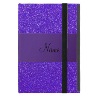 Personalized name purple glitter purple stripe iPad mini cover