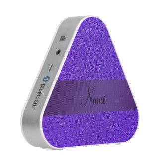 Personalized name purple glitter purple stripe bluetooth speaker