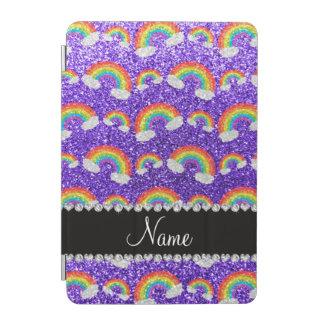 Personalized name purple glitter rainbows iPad mini cover
