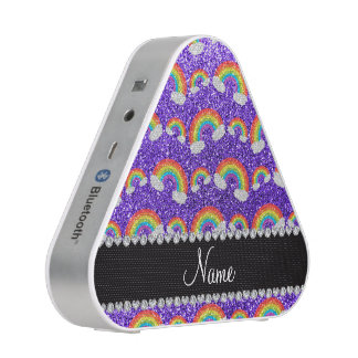 Personalized name purple glitter rainbows speaker