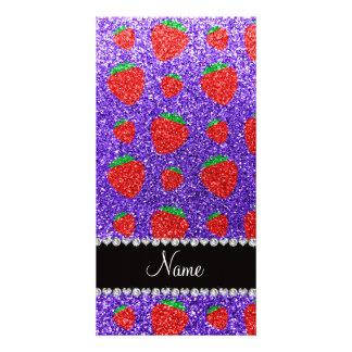 Personalized name purple glitter strawberry customised photo card