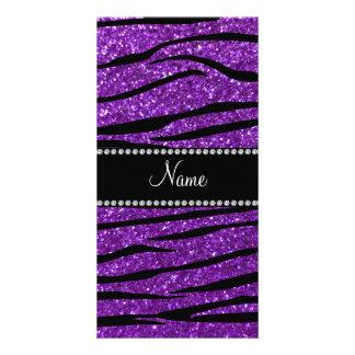 Personalized name purple glitter zebra stripes photo greeting card
