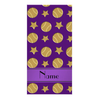 Personalized name purple gold baseballs stars picture card