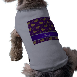 Personalized name purple gold hearts mom love sleeveless dog shirt