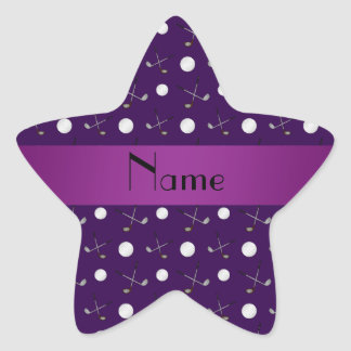 Personalized name purple golf balls star sticker
