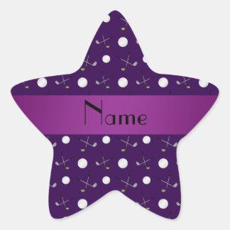Personalized name purple golf balls star sticker