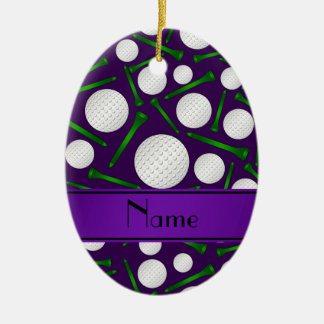 Personalized name purple golf balls tees christmas ornament