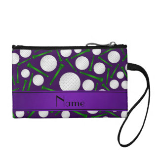 Personalized name purple golf balls tees coin purse
