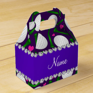 Personalized name purple golf balls tees hearts favour box