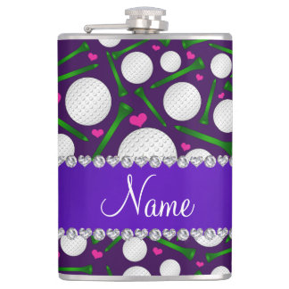 Personalized name purple golf balls tees hearts hip flask