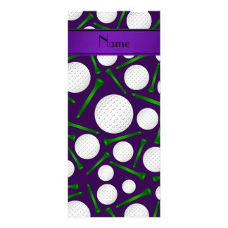 Personalized name purple golf balls tees full color rack card