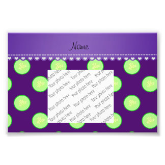 Personalized name purple green cucumber slice photo