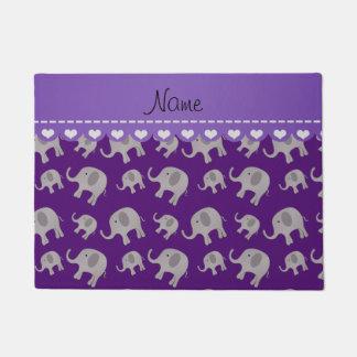 Personalized name purple grey elephants doormat