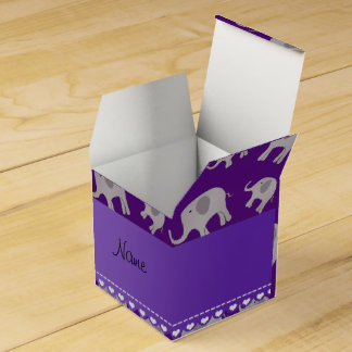 Personalized name purple grey elephants favour box