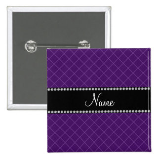 Personalized name purple grid pattern 15 cm square badge