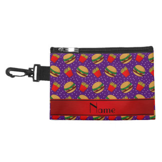 Personalized name purple hamburgers fries dots accessories bags