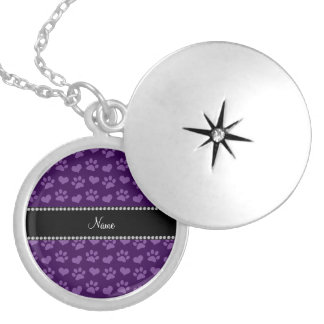 Personalized name purple hearts and paw prints locket necklace